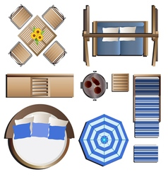 Outdoor furniture top view set 19 for landscape vector image