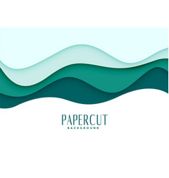Papercut background in wavy style vector