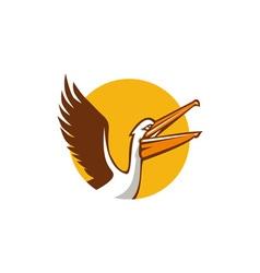 Pelican Flying Up Circle Retro vector