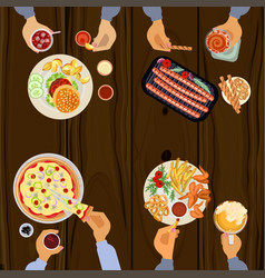 persons is eating lunch vector image