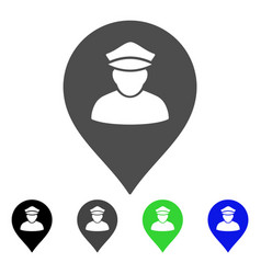 Policeman map marker flat icon vector