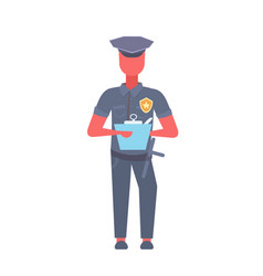 policeman writing report man wearing cop uniform vector image