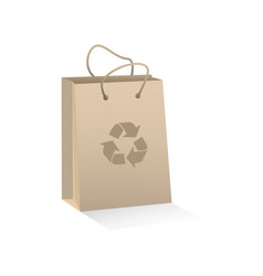 Recycable craft brown paper shopping bag vector