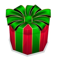 Red gift box with green bow vector image vector image