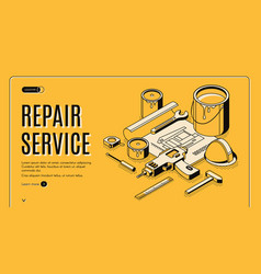 repair service isometric landing page blueprint vector image