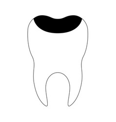 Restored tooth with root in black silhouette vector