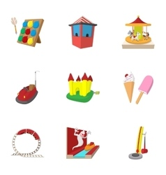 Rides icons set cartoon style vector image