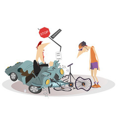 Road accident driver cyclist and broken bike vector