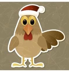 Rooster in Santa hat Vintage background vector image vector image