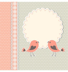 Round frame with two birds vector