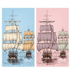 sailing wallpapers or sailboats retro design for vector image