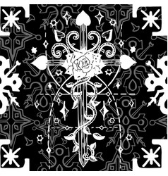 seamless pattern with fantasy crosses 3 vector image