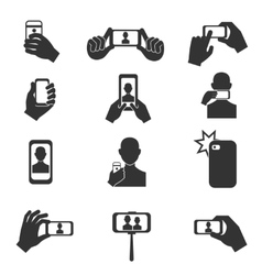 Selfie photo icons set vector