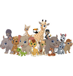 Set funny kids animals vector