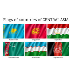 Set of flags of central asia vector