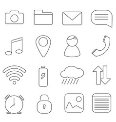 set of icons in line style communication message vector image