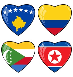 Set of images of hearts with the flags of Korea vector