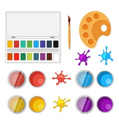 Set of objects for artists in flat style vector image