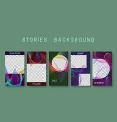 Set stories background design abstract vibrant vector
