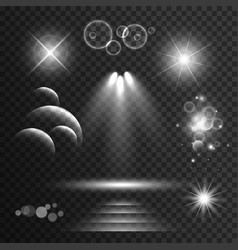 Set transparent light effects and sparkles vector