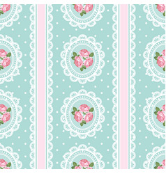Shabby chic rose seamless pattern on polka dot vector