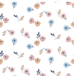 Simple meadow flowers tender colors seamless vector
