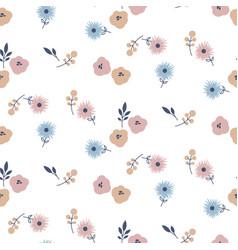simple meadow flowers tender colors seamless vector image