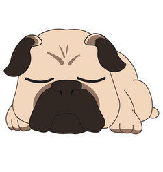 Sleeping pug vector