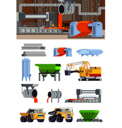 Steel production flat icons set vector