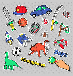 Stickers boys theme toys sports car vector