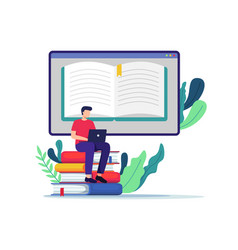 student learning online vector image