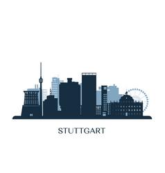stuttgart skyline monochrome silhouette vector image