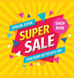 super sale concept banner template design discoun vector image