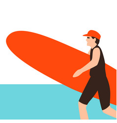 surfing young woman flat vector image