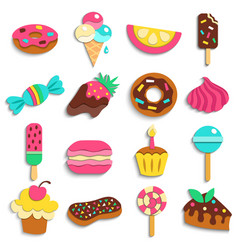 sweets party treats icons collection vector image