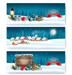three holiday christmas banners with a winter vector image