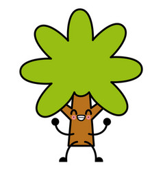 tree nature symbol cute kawaii cartoon vector image
