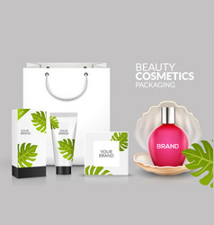 tropical cosmetic package design natural summer vector image