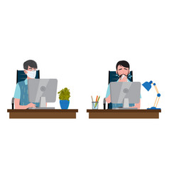 two men in office one with medical face vector image