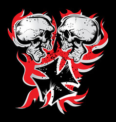two skulls a teutonic cross and a flame vector image