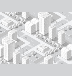 urban isometric area with building trees lawns vector image