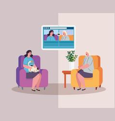 Video call women online conversation love and vector