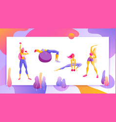 Woman workout fitness pilates aerobic set of vector