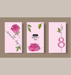 women s day set greeting cards social media vector image