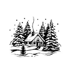 wooden house in the winter forest vector image