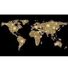 World abstract dotted stylized golden map on black vector image