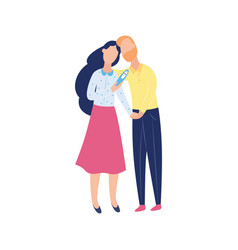 Young couple with negative pregnancy test two vector