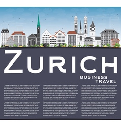 Zurich Skyline with Gray Buildings Blue Sky vector