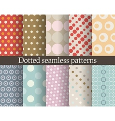 Dotted seamless patterns set vector image vector image