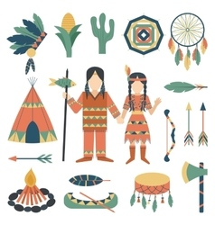 Indians icons traditional travel asia temple vector image vector image